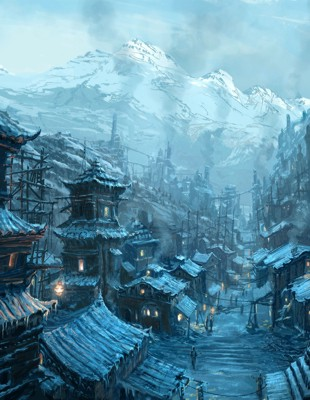 """Chinese Steampunk Village,"" by Raphael Lacoste"